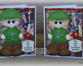 Army Militar Handmade Paper Piecing 3D Greeting Card