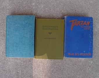 Vintage Antique Hardcover Book Set Three Instant Collection Green Blue Home Decor Mythology Tarzan