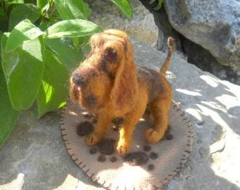 A Felted Bloodhound, Needle felted dog, collectable dog, collectible bloodhound, hand felted bloodhound, Byron the bloodhound, hound puppy