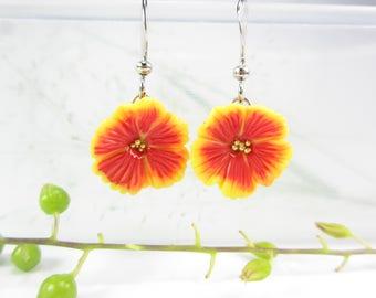 Hibiscus earrings, hibiscus dangle earrings, hibiscus jewelry, flower earrings, unique earrings, womens gift, polymer clay, cute earrings