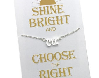 CTR Necklace, Choose the Right,  2017 Primary theme, silver CTR Charm Necklace, LDS Primary Gifts, Shine Bright and Choose the Right