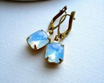 Light Blue Opal Earrings, Aqua Sabrina Opal Octagon, Rectangular Opal Drop Earrings Brass, Gift For Her, Lever Back with Lock Ear Wires