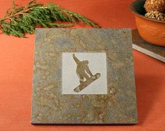 Slate Trivet / Hot Plate - Snow Boarder Sandcarved on Copper Slate