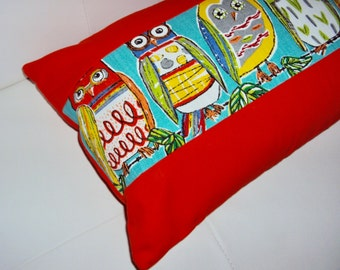 FREE SHIPPING 20x12 Bright Orange Owl Print Lumbar Pillow - OOAK