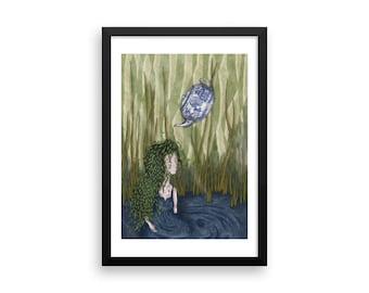 In The Pond Framed Print | Alice in Wonderland | Tea | Original Artwork