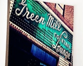 "Black Friday Sale Wood Photo Block- Chicago Wall Art- Chicago Home Decor- The Green Mill""  emerald  and indigo photo of  vintage lounge sign"