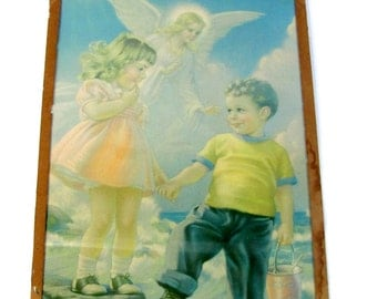 Vintage GUARDIAN ANGEL Print Watching Over Children On Beach Ocean Boy Girl