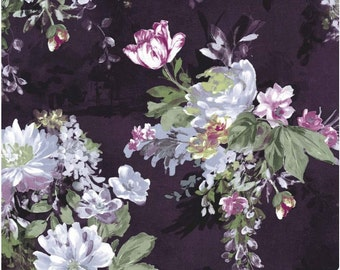 Michael Miller Fabric SERAFINA, Floral on Purple- yards
