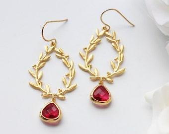 Laurel Leaves Ruby Red Glass Matte Gold Earrings Modern Grecian Dangle