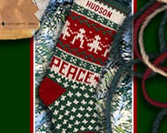 Personalized Knitted PEACE Christmas Stockings Made in USA