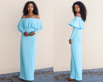 Sky Blue Ruffle Off Shoulder Maxi Dress XS S M L XL XXL