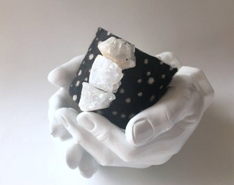"""leather cuff bracelet  -spotted hair on hide with trio of crystal quartz - 2"""" wide"""