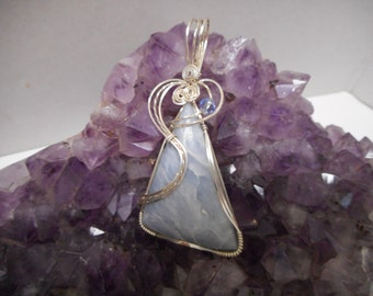 Angelite & .925 sterling silver wire wrapped  pendant.