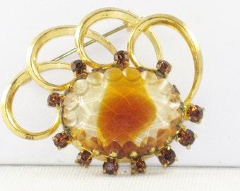Vintage Glass Stone and Topaz Rhinestone Brooch Pin (B-2-4)