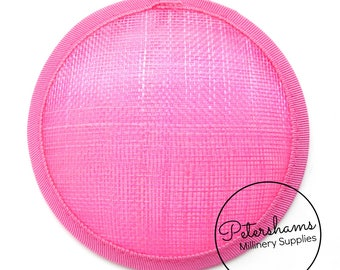 11cm Round Sinamay Fascinator Hat Base for Hat Making Millinery - Bright Pink