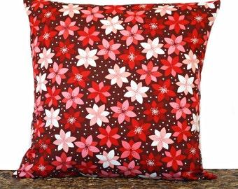 Poinsettia Christmas Pillow Cover Cushion Modern Burgundy Maroon Red Pink Peach White Decorative 18x18