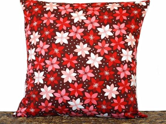 Poinsettia Christmas Pillow Cover Cushion Modern Burgundy