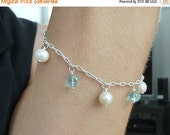10% sale, Bracelet of sterling silver, quality freshwater pearls, blue topaz gemstones, wedding, fine jewelry