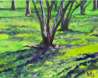 Green Plein Air Landscape Original Oil Painting - 12x9in Impressionism