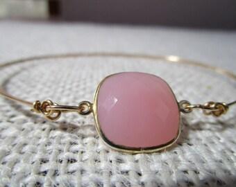 Rose Quartz Pink Glass Gold Filled Bangle Bracelet #3000