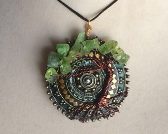 Wire Wrapped Peridot Tree of Life Pendant