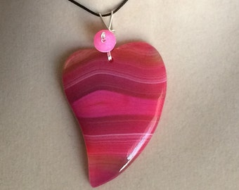 Wire Wrapped Red Agate Heart Valentine Pendant