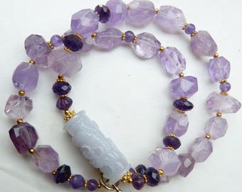 Antique Chinese Lavender Jade Dragon Bead and Natural Faceted Amethyst Necklace