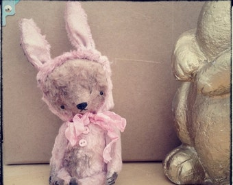 SPRING IS COMING Made To Order 4,5 inch Artist Handmade Pocket Sized Pink Teddy Bear Playing the Bunny by Sasha Pokrass