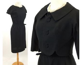 1950s black dress suit wool dress and cropped jacket wiggle dress Size M/L