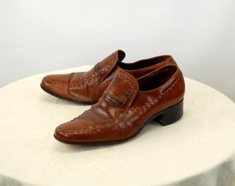 Men's Florsheim shoes caramel leather loafers 1970s shoes Size 9