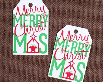 Merry Merry Christmas Gift Tags, Holiday Gift Tags, Christmas Parcel Tags, Favor Tags, Blank Gift Tags, Merry Christmas Tags (12)