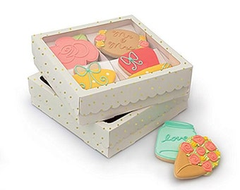 Sweet Sugarbelle Cookie Boxes, White Cookie Boxes, Single Cookie Boxes, Gold Polka Dot Cookie Boxes, Bakery Boxes, Wedding Favor Boxes
