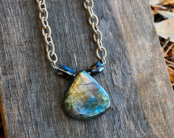 labradorite and smoky quartz on polycable necklace