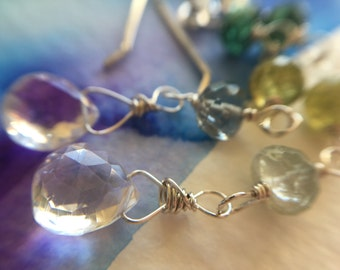 Rock Crystal Dangle Teardrop Earrings in Sterling Silver with apatite, peridot, and aquamarine