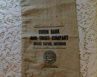 Vintage Union Bank and Trust Company Grand Rapids MI Michigan Banking Money Canvas Bag