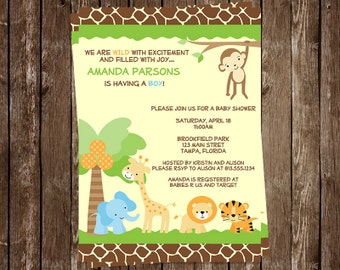 Jungle, Baby Shower, Invitations, Safari Animals, Boys, Zoo, Monkey, Giraffe, Lion, Tiger, Elephant, 10 Printed Invites, FREE Shipping