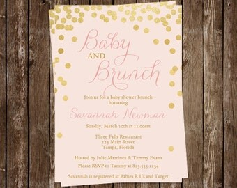 Brunch, Baby Shower Invitation, Gold, Confetti, Girl, Pink, Blush, Gold, Bubbly, Glitter, Sprinkle, 10 Printed Invites FREE Shipping, BRBUPK