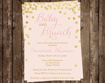 Baby Shower Invitations, Brunch Baby Shower, Baby Sprinkle, Girl, Sip and See, Pink, 10 Printed Invitations, FREE Shipping