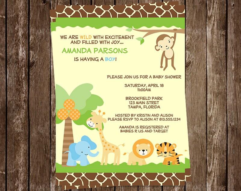 monkey baby shower | etsy, Baby shower invitations