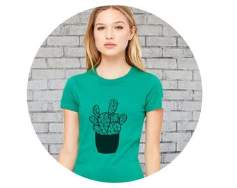 Cactus Tshirt, Cactus Shirts For Women, Women's Fitted Graphic Tee Kelly Green Short Sleeved Crewneck T Shirt Hand Printed Screenprinted Top
