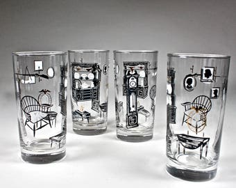 Mid Century Libbey Glassware Black White Gold Early American Colonial Homestead Pattern 1960s Set of 4