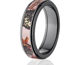 New Black Zirconium 6mm Pink Breakup Mossy Oak Licensed Mossy Oak Camo Ring Camo Wedding Ring Black Zirconium Wedding Band : BZ-6RC-PBU