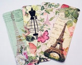 Paris bookmarks - Set Of 4 -  Spring Paris - Eiffel Tower - Cottage Chic - Book Accessories - Book Gift - French Bookmarks - Vintage Look