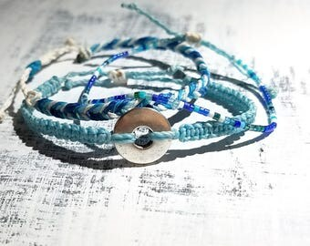 Blue, Turquoise, and White Surfer Bracelet Pack, Friendship Bracelet Set, Waterproof Wax Cord, Adjustable Boho Bracelet Set