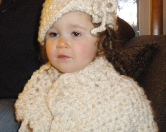 Crocheted Toddler Girl Sweater 2T 3T Super Bulky Warm Cream Acrylic Mohair Blend Yarn