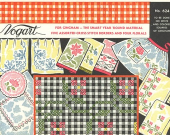 Vogart Gingham Cross Stitch Pattern #624 - Five Assorted Borders and Four Florals