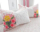 SPECIAL FOR MRS. Lyon Vintage Chenille Patchwork Quilt Style Pillow Sham Set Lolipop Roses