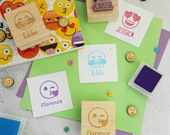 Personalised Children's Emoji Rubber Stamp  - Personalized Rubber Stamp - Custom Stamper - Angel Devil Rubber Stamp - Gift for Teen Teenager