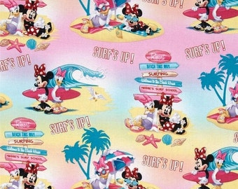 Gorgeous DISNEY's Minnie Mouse Surfs Up Fabric -- 40-70% off Patterns n Books SALE