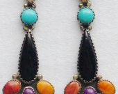 Long Navajo Sterling Silver Turquoise Multi-Stone Dangle Earrings -- Roie Jaque